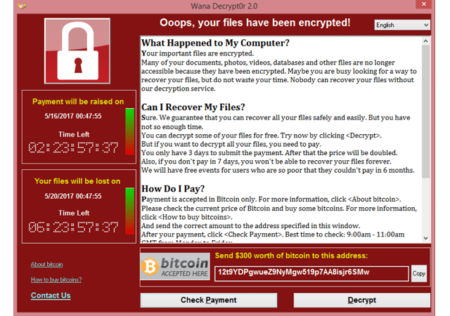 Wikipedia — The interface of the WannaCry ransomware