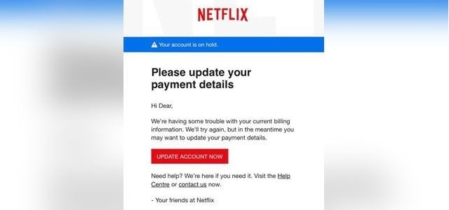 A phishing email that looks like it's from Netflix