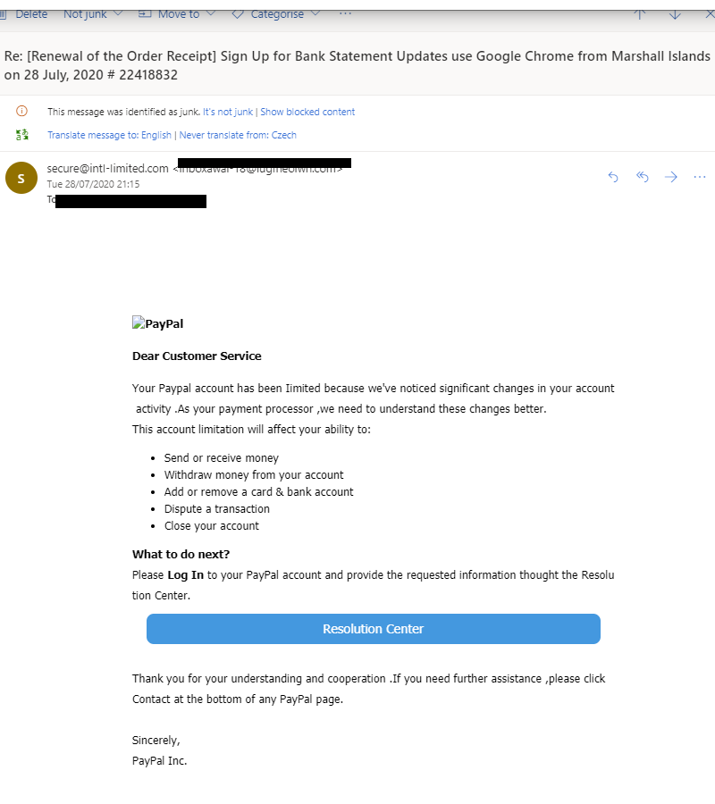 A phishing email that looks like it's from PayPal